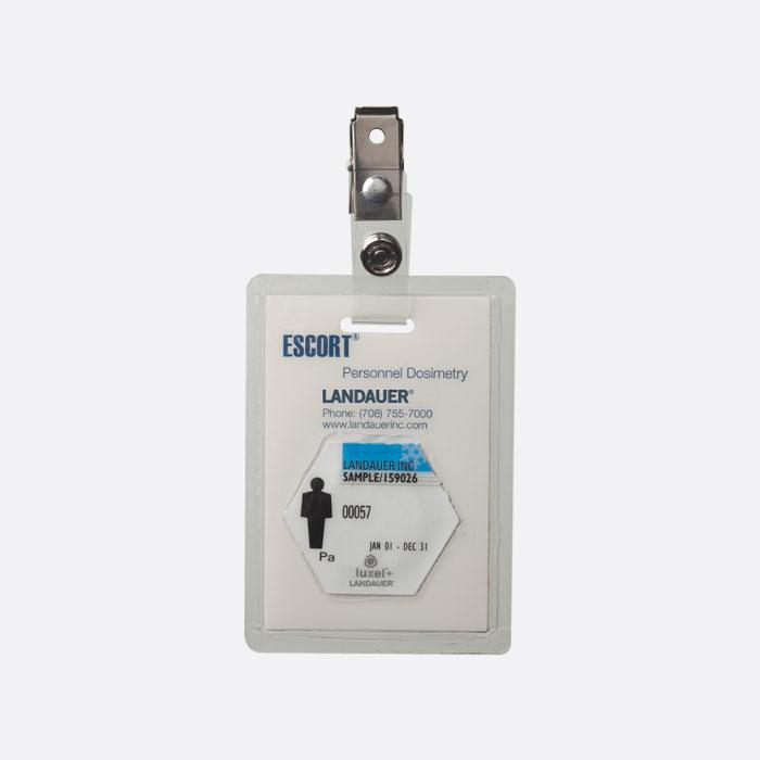 landauer escort dosimeter badge for occupational radiation monitoring and safety of military and first responders personnel