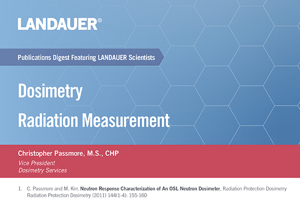 christopher passmore vice president dosimetry services publications digest on the topic of dosimetry