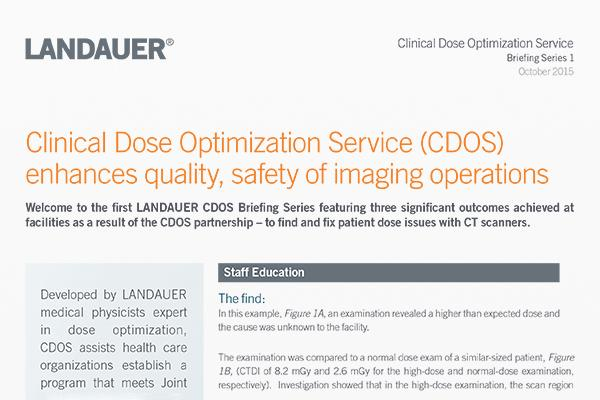 clinical dose optimization service briefing 1 details outcomes of cdos partnership addressing ct scanner patient dose issues