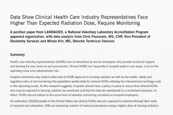 health care industry representatives and radiation dose position paper