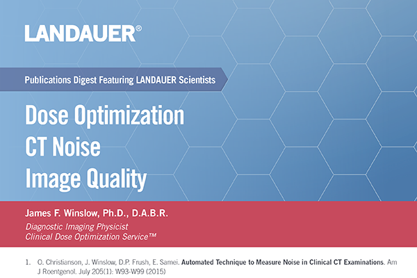 james f winslow landauer medical physicist publications digest on the topic of dose optimization