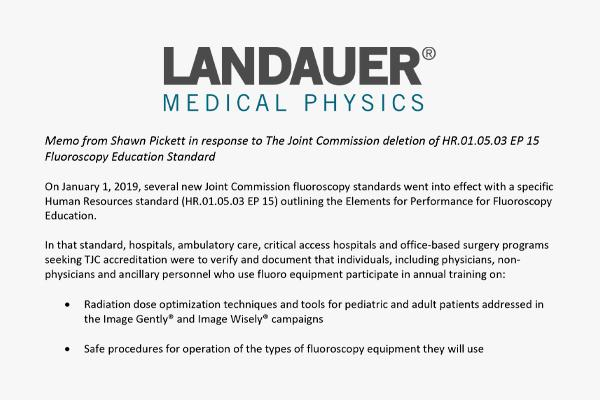LANDAUER Medical Physics response to TJC Fluroscopy Education Updates